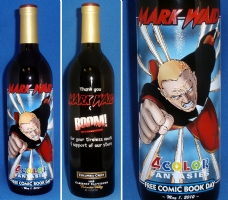 Irredeemable FCBD/ Mark Waid etched wine bottle Comic Art